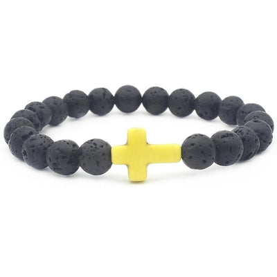 black lava stone bead bracelet one size fits all with yellow stone cross