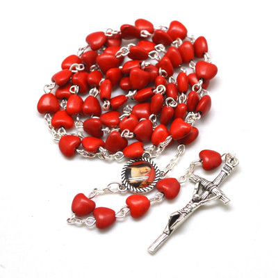 saint rita rosary, rosary with red stone beads, st rita gift