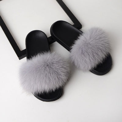 womens light grey  color fox fur slides slippers with black rubber sole