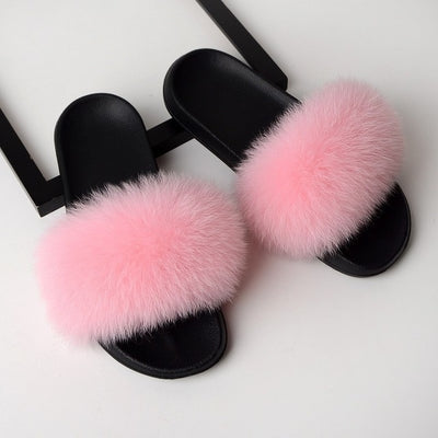 womens light pink olor fox fur slides slippers with black rubber sole