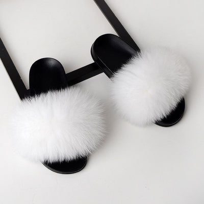 womens white fox fur slides slippers with black rubber sole