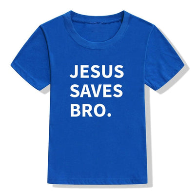 jesus saves bro t-shirt blue for children