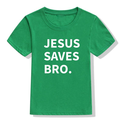 jesus saves bro t-shirt green for children