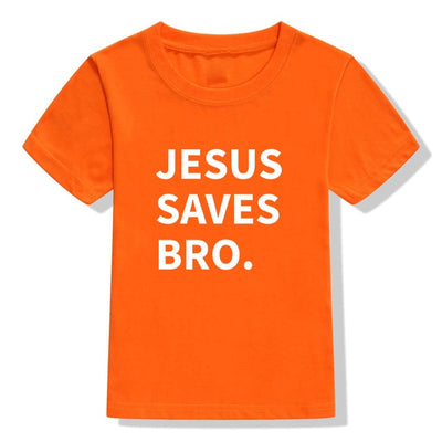 jesus saves bro t-shirt orange for children