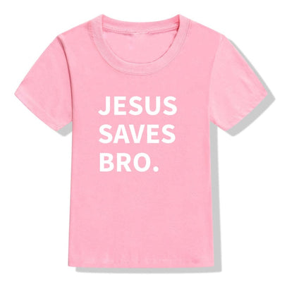 jesus saves bro t-shirt light pink for children
