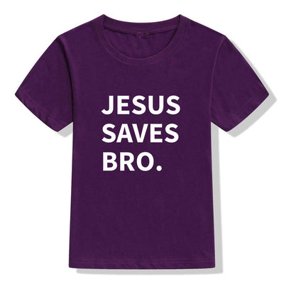 jesus saves bro t-shirt purple for children