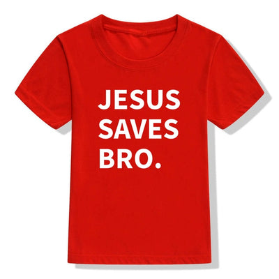 jesus saves bro. t-shirt red for children