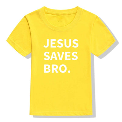 jesus saves bro t-shirt yellow for children