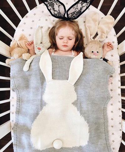 winfinity brands bunny knit blanket grey and white