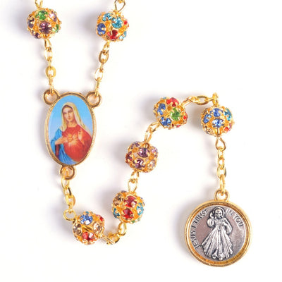 gold rosary with jewels and coin, winfinity brands signature rosary colorful premium quality