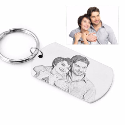photo picture engravig on key chain stainless steel