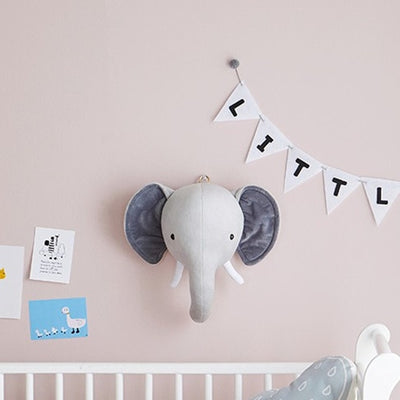 faux animal head, elephant head, baby room decor animal head, nursery plush wall decor