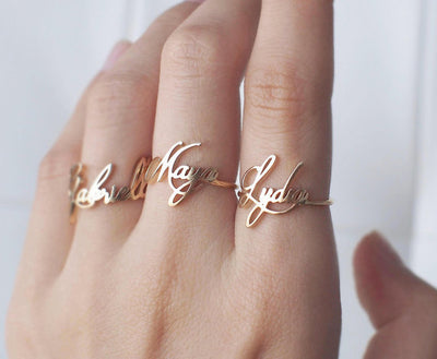 yellow gold names rings made to order handmade
