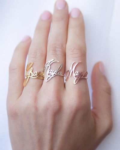 custom name personalized ring in  yellow gold, white gold, rose gold ladies