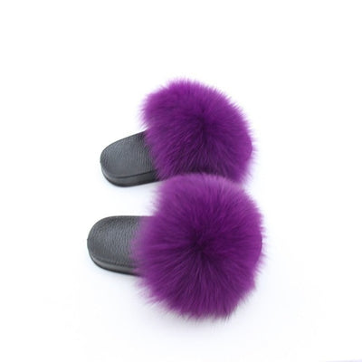 fluffly purple  kids fox fur slides slippers with black rubber soles