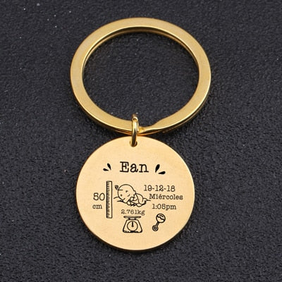 birth key chain, baby key chain, custom baby details key chain, yellow gold