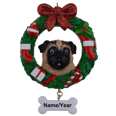 Yellow Pug, Dog Resin Crafts Shiny Personalized, Christmas Ornament ,Hand Painted, Pug Owners gifts, Home Decor