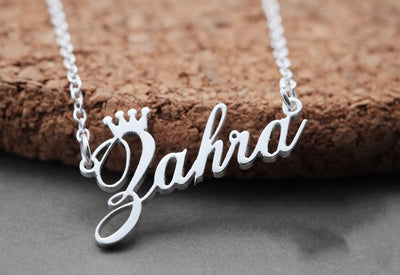 Silver stainless stell color name necklace with crown and beautiful font for ladies