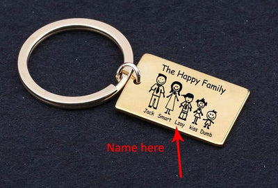 "The ""Happy"" Family Engraved Personalized Key Chain"