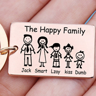 "CREATEME™ The ""Happy"" Family Engraved Personalized Key Chain"