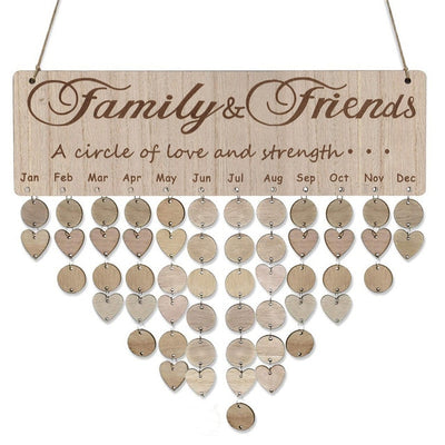family and friends, a circle of love and strenght... family a circle of love and strength birthday board plaque create your own birthday calendar