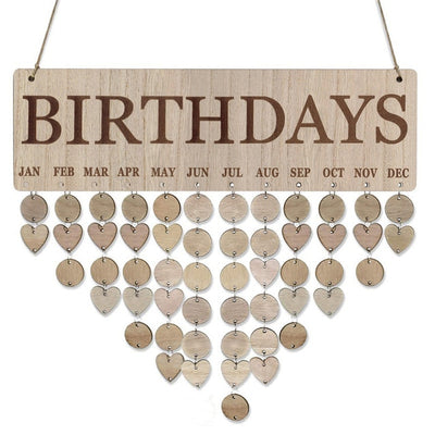 BIRTDAYS board with hearts and circles DIY birthday plauqe calendar board