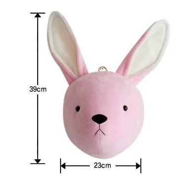 faux animal head, pink bunny head, baby room decor animal head, nursery plush wall decor