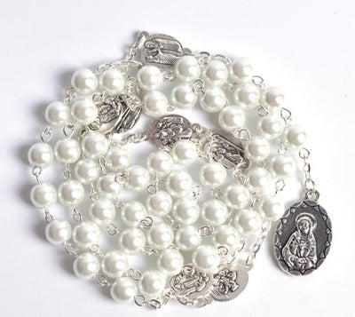 white chaplet catholic rosary, catholic rosary, white glass rosary, white seven sorrows rosary, winfinity brands - free shipping world wide