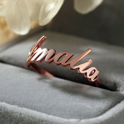 custom name personalized ring in rose gold ladies