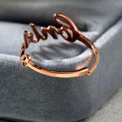 one size fits all universal custom name ring rose gold