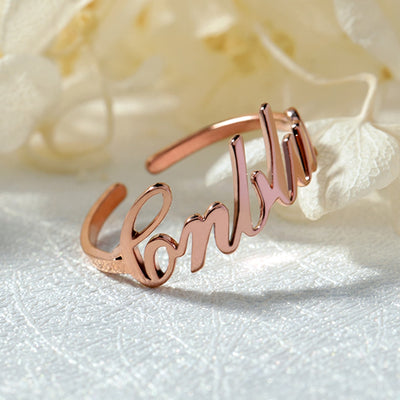 one size fits all custom name ring rose gold color