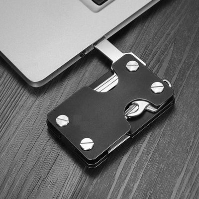 carbon fiber slim multifunctional walley key usb metal black