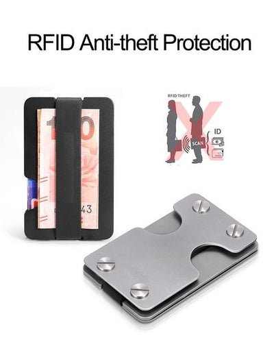 RFID anti theft protection silver carbon fiber slim multifunctional walley key usb metal black