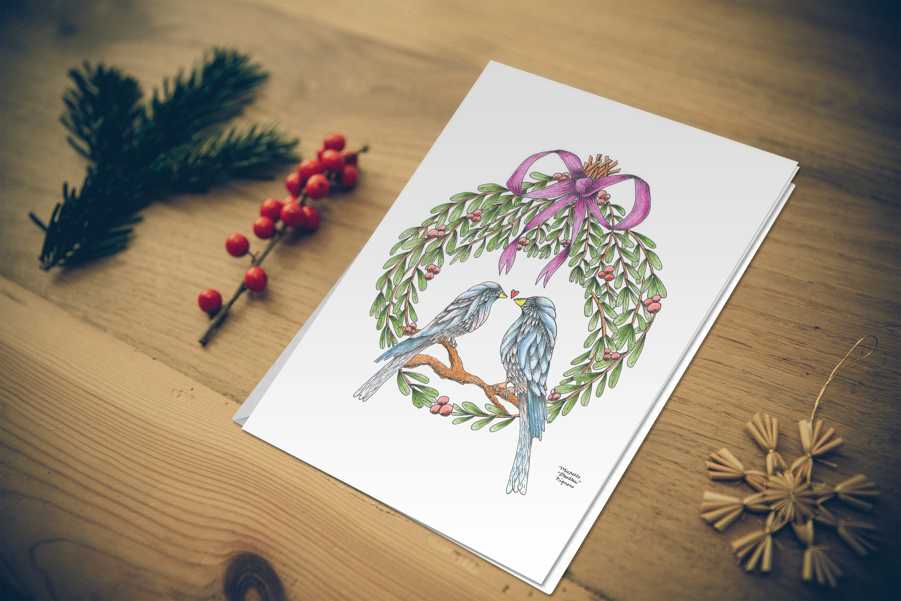"""Mistletoe Love Birds"" holiday card (pack of 5)"