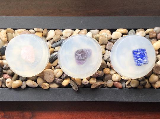 gemstone soap, glycerine soap with a crystal inside