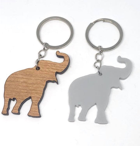 Elephant Keyring in Cherry Wood or Acrylic