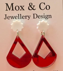 White with Red Mirror Dangles