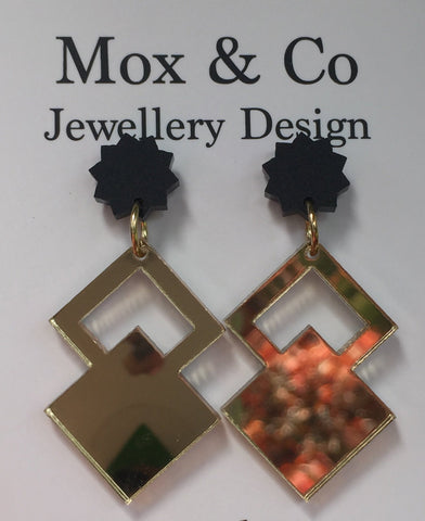 Matte Black and Gold Mirror Dangles