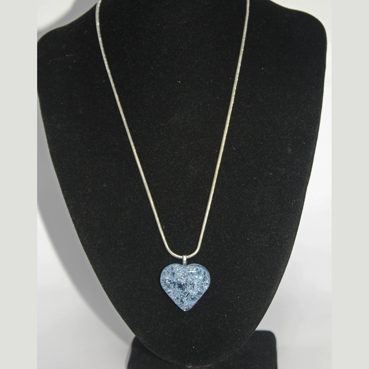 Pale Blue Heart Cracked Glass Necklace