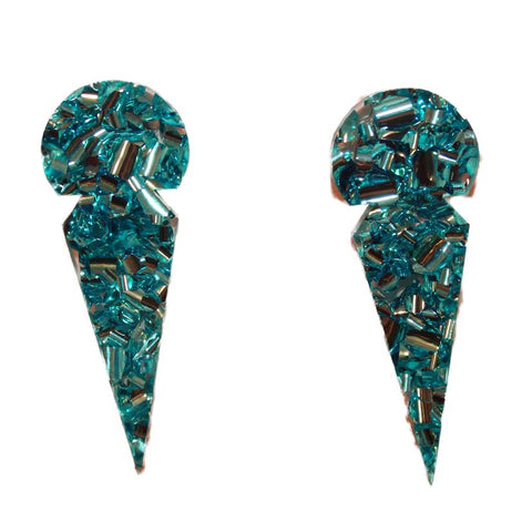 Ice Glitter Statement Studs