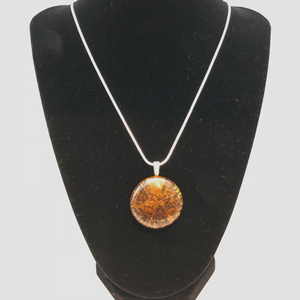 Brown Cracked Glass Sterling Silver Necklace