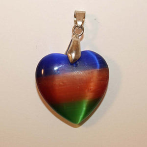 Cats eye heart pendant