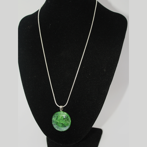 Green Cracked Glass Sterling Silver Necklace