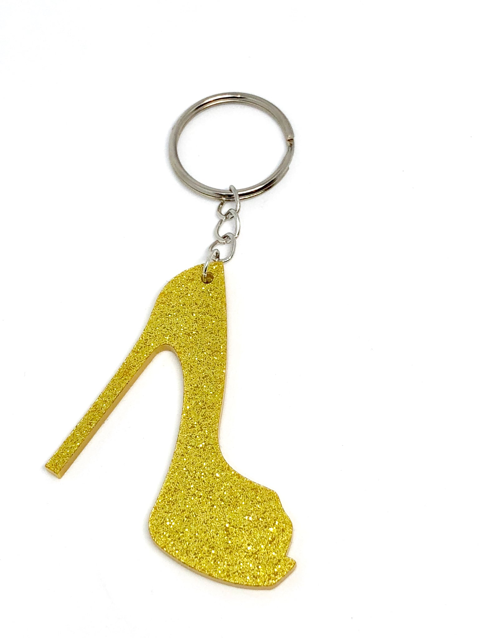 gold glitter stiletto keyring