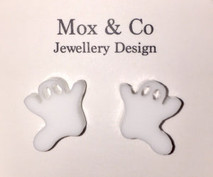 White acrylic ghost stud earrings