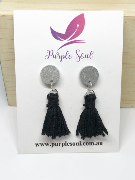 Silver Glitter Studs with Black Tassels
