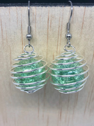 Light Green Cracked Marble Cage Earrings