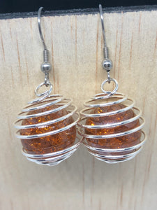 Brown Cracked Marble Cage Earrings