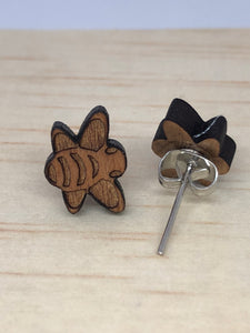 Cherry wood bee earrings