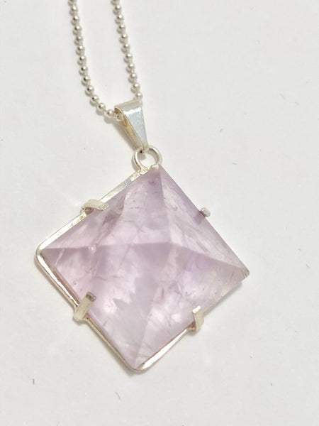 Amethyst Pyramid Sterling Silver Necklace